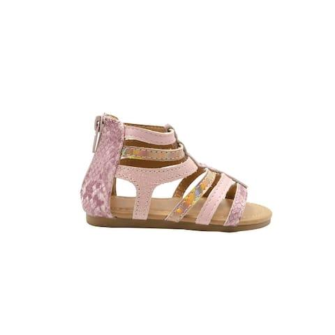 Rampage Girls' Big Kid Slip-On Gladiator Strap Sandals with Back Zipper, Open-Toe Flat Fashion Summer Shoes