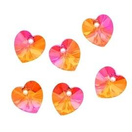 Swarovski Crystal, 6228 Heart Pendants 10mm, 6 Pieces, Crystal Astral Pink