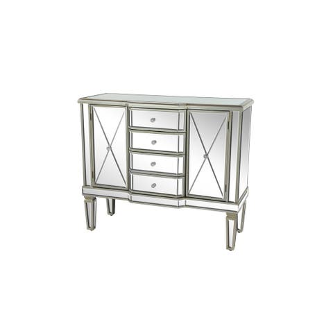 "Rectangular 4-Drawer Silver Mirrored Cabinet w 2 Large Cabinets 39"" x 34"" - 39 x 16 x 34"