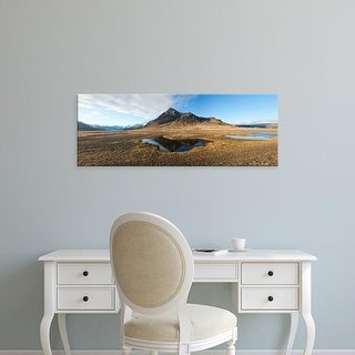 Easy Art Prints Panoramic Images's 'Farm with a mountain in the background, Iceland' Premium Canvas Art