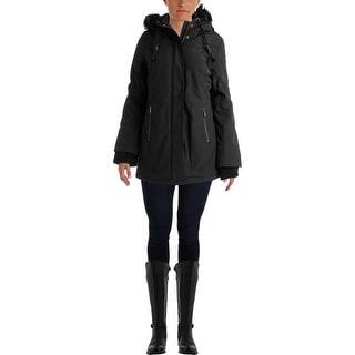 DKNY Womens Water Resistant Zip Front Coat