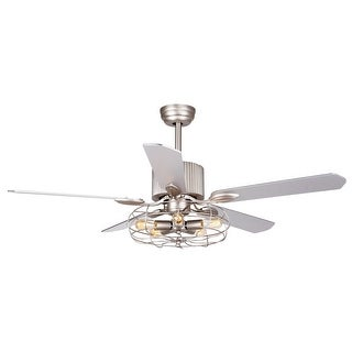 52-inch Industrial Satin Nickel 5-Blades Ceiling Fan with Remote