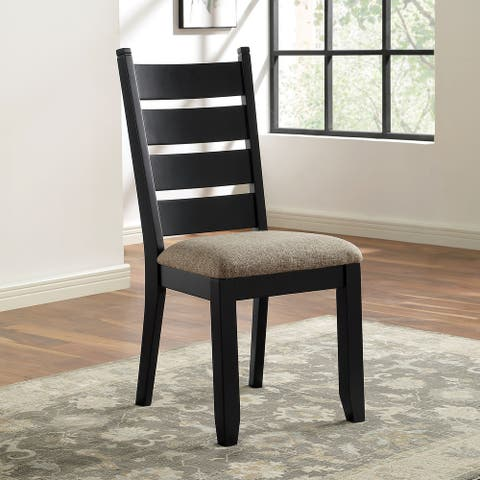 Furniture of America Falm Transitional Black Side Chairs (Set of 2)