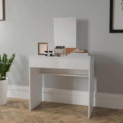 Boahaus Contemporary White Dressing Table with Mirror and 2 Drawers
