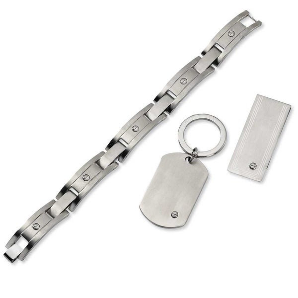 Chisel Stainless Steel Brushed 8.25 Inch Bracelet, Key Ring and Money Clip Set