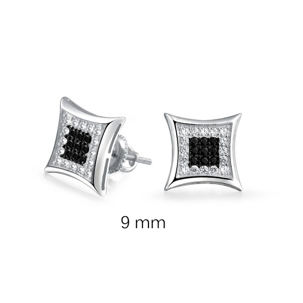 02e6475b9 Shop Black White Square Shaped Cubic Zirconia Micro Pave CZ Kite Stud  Earrings For Men 925 Sterling Silver 9MM - On Sale - Free Shipping On  Orders Over $45 ...