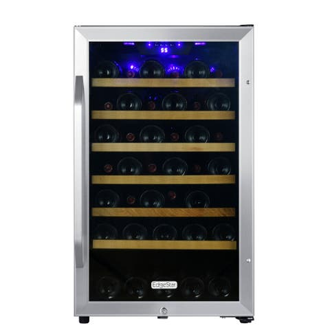"EdgeStar CWF440SZ 20"" Wide 44 Bottle Capacity Free Standing Wine Cooler with Reversible Door and LED Lighting - Stainless Steel"