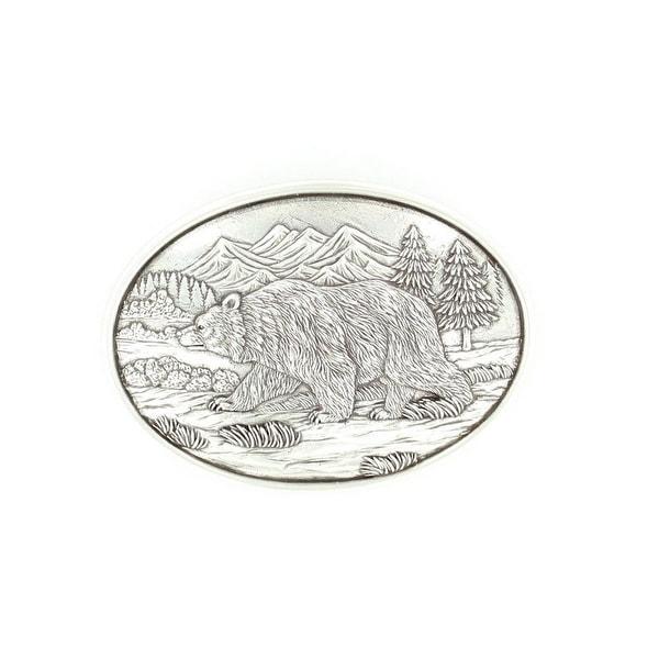 Nocona Western Belt Buckle Oval Grizzly Bear 3 x 4 Silver - 3 x 4