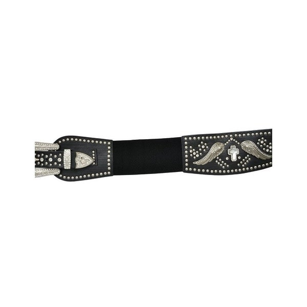 Angel Ranch Western Belt Womens Stretch Wings Cross Black