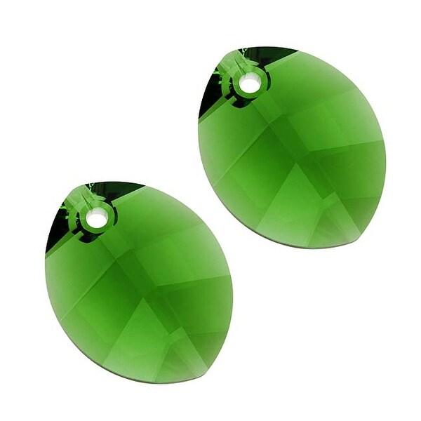 Swarovski Elements Crystal, 6734 Pure Leaf Pendant 14mm, 2 Pieces, Fern Green