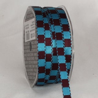 Blue and Brown Squares Woven Satin Craft Ribbon 9.5mm x 100 Yards