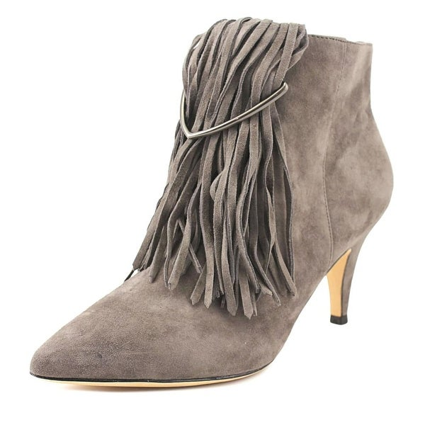 Brian Atwood Perri Women Pointed Toe Suede Gray Bootie