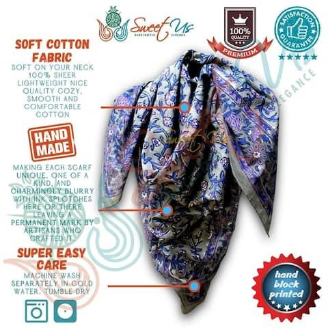 Scarf for Women Sheer Soft Cotton Floral Green Blue Burgundy Bandana Neckscarf