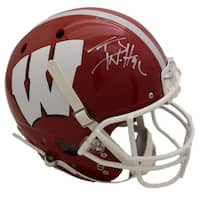 TJ Watt Autographed Wisconsin Badgers Schutt Red Replica Helmet JSA