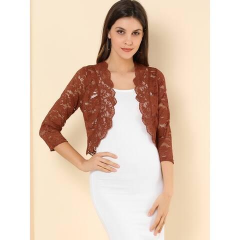 Women Elegant Sleeve Sheer Floral Lace Shrug Top