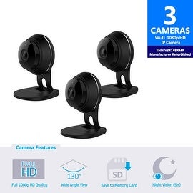 3 pack of SNH-V6414BMR - Samsung HD Plus WiFi IP Camera with 16GB microSD Card (Refurbished)