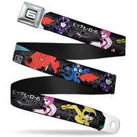 "Big Hero ""6"" Name Blocks Full Color Black Gray White Big Hero 6 Group Seatbelt Belt"