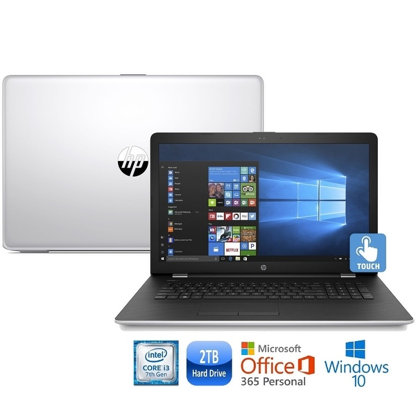 "HP 15-bs011cy Core i3-7100 2TB HDD 15.6"" HD Touch Screen Laptop with Office 365 - Silver"