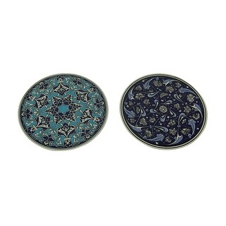 Set of Two Round Ceramic Blue Pattern Trivets