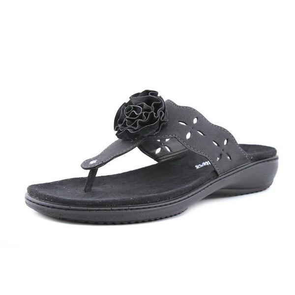 Trotters Teddie Women N/S Open Toe Leather Black Thong Sandal