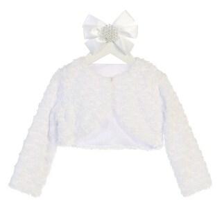 Sweet Kids Baby Girls White Rosette Long Sleeve Faux Fur Elegant Jacket