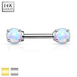 Double Prong Set Opal Stone 14K Gold Nipple Bar (Sold Individually)
