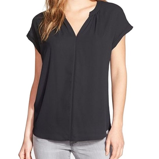 0e3dfcd36a3 Shop Pleione NEW Deep Black Womens Size Small S Split-Neck Pleated Blouse -  Free Shipping On Orders Over $45 - Overstock - 21096133