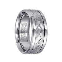 Dual Grooved White Cobalt & 14k White Gold Men's Wedding Band with Cuts by Crown Ring - 9mm