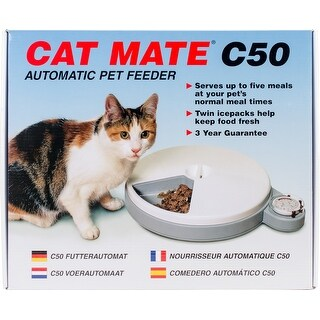 White/Gray - Cat Mate C50 Automatic Pet Feeder