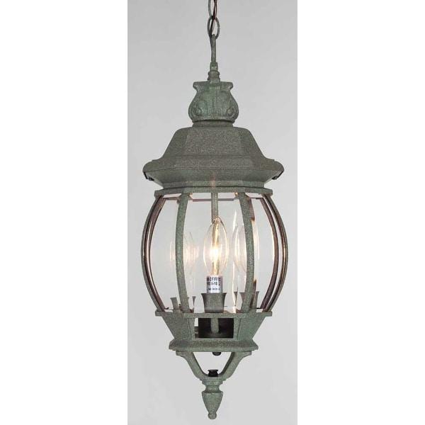 "Volume Lighting V8762 3-Light Outdoor 22"" Height Pendant with Clear Beveled Glass Lantern Shade - Mottled Verde Green - N/A"