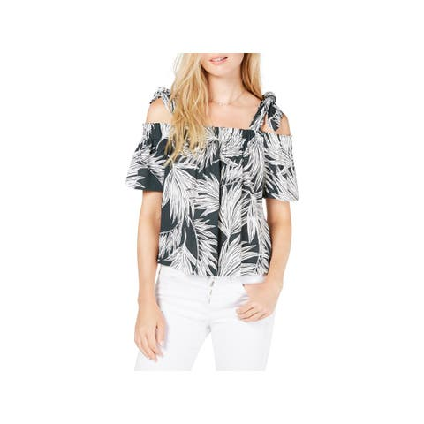 1.State Womens Blouse Cold-Shoulder Tie-Sleeve