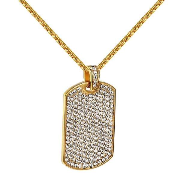 Iced Out Dog Tag Pendant Chain Lab Diamonds Gold Tone Stainless Steel