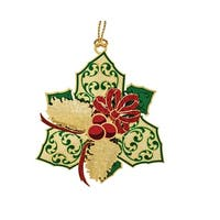 """2.25"""" Red and Green 24K Gold Holly and Pinecones Christmas Ornament"""