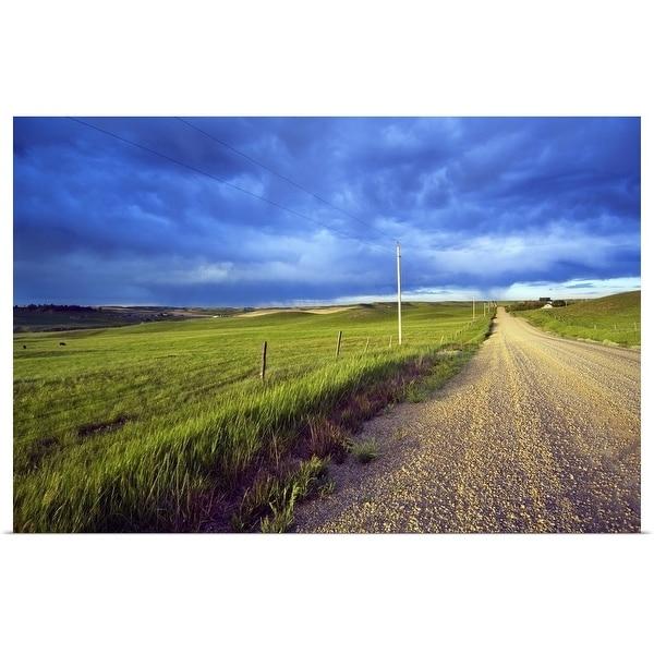 """Dirt road through farmland, distant storm clouds, Missouri Breaks, Montana"" Poster Print"