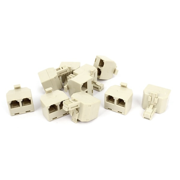 Unique Bargains 3 Port RJ11 6P4C Male to Dual Female Telephone Line Splitter Connector 10 Pcs