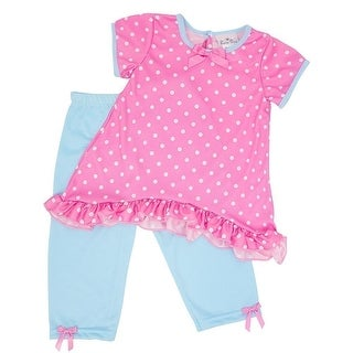 Laura Dare Little Girls Blue Pink Polka Dot Ruffle Trim 2 Pc Pajama Set