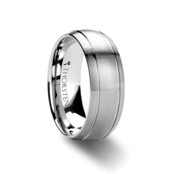 THORSTEN - MAGNUS Domed Brush Finished Tungsten Carbide Ring with Dual Grooves