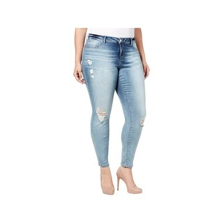 Jessica Simpson Womens Plus Kiss Me Skinny Jeans Mid-Rise Distressed