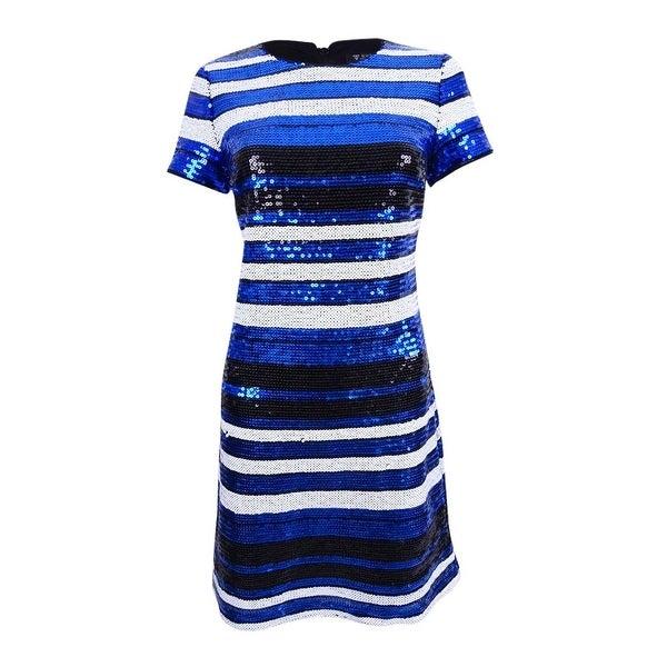 c28f80e86a8b3 Guess Women's Striped Sequin Sheath Dress - cobalt