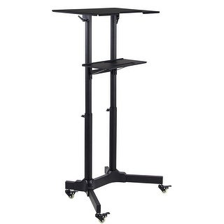 Mount-It! Mobile Standing Height Desk, Portable Podium and Rolling Presentation Lectern, Laptop Stand Up Desk with Caster Wheels