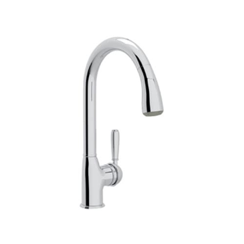 Rohl R7504LM-2 Classic Kitchen Faucet with Pull Out Spray and Metal Lever handle