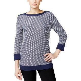 Karen Scott Womens Pullover Sweater Knit Boat Neck