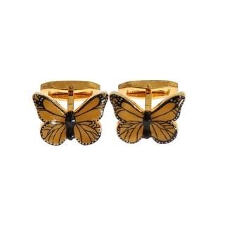 Dolce & Gabbana Dolce & Gabbana Gold Plated Brass Yellow Butterfly Cufflinks - One size