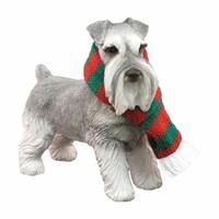 Gray Schnauzer With Red And Green Scarf Christmas Ornament Sculpture
