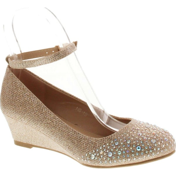 Top Moda Women's Wedge Glitter Rhinestone Round Toe Adjustable Ankle Strap Shoes