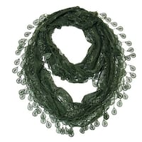 "Women's Sheer Lace Scarf With Teardrops Fringe - a. green - 62"" x 12"""