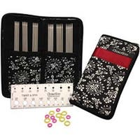 """Red Ribbon - Double Point Stainless Steel Knitting Needle 6"""" Set"""