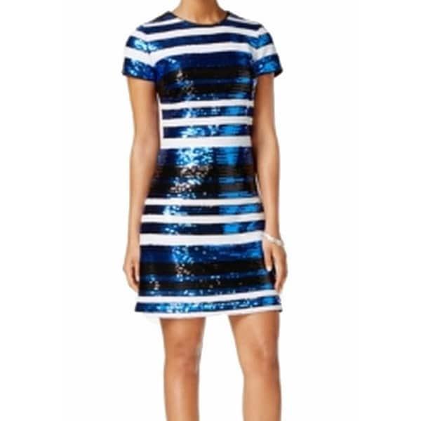 89d07e312a4df Guess NEW Blue Sequin Stripe Women's Size 0 Short-Sleeve Sheath Dress