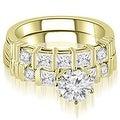 1.99 cttw. 14K Yellow Gold Princess And Round Cut Diamond Bridal Set - Thumbnail 0