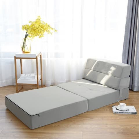 "Tri-Fold Folding Chair Convertible Sleeper Bed - Gray - 77.5"" x 29"" x 6.5"" (L x W x H)"